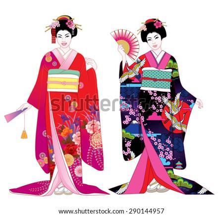 Beautiful japanese girls in kimono. Vector illustration set.
