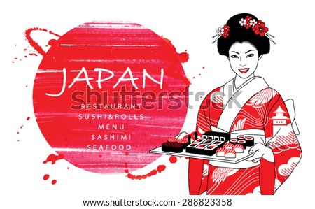 Beautiful japanese waitress in kimono holding tray with sushi and rolls on a abstract watercolor red background. Vector illustration. - stock vector