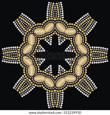 Beautiful jewelry, decorated medallion ,snowflake, mandala. Fashion pattern from brilliant stones, gold, silver rhinestones (abstract vector art illustration) - stock vector