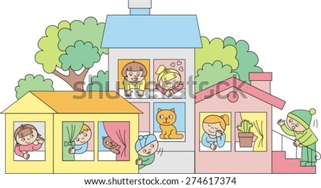 beautiful kindergarten with children, vector illustration