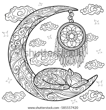 Beautiful Kittens Vector Illustration Cat Sleeps On The Moon Doodle Coloring Book