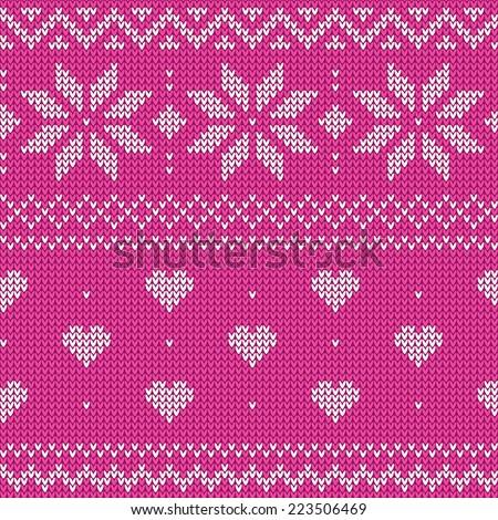 Beautiful Knitted Pink Jacquard Seamless Pattern Stock Vector
