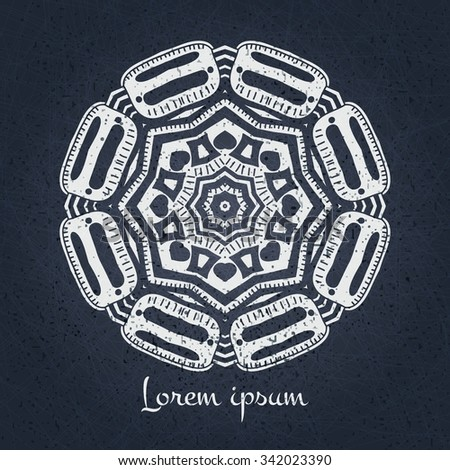 Beautiful lacy white tablecloth, doily. Beautiful circular ornament. Mandala. Vintage decorative elements. Islam, Arabic, Indian, ottoman motifs. Stylized flowers. Delicate floral background. - stock vector