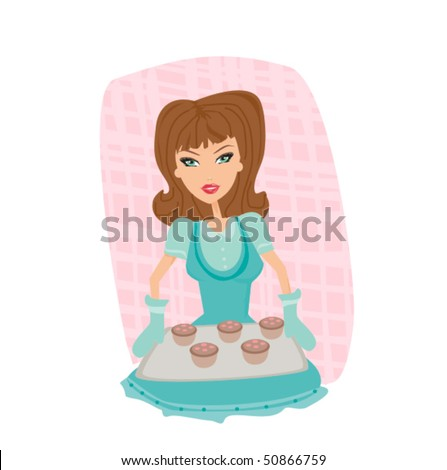 Beautiful lady cooking cakes - stock vector