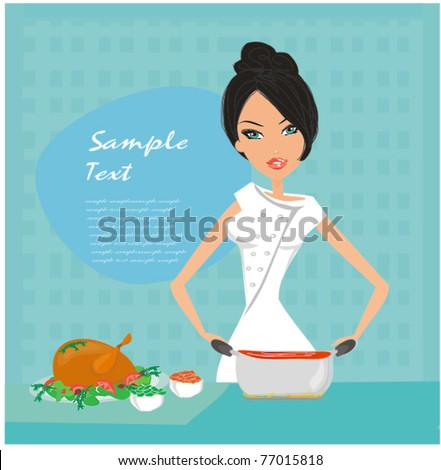 Beautiful lady cooking lunch - stock vector