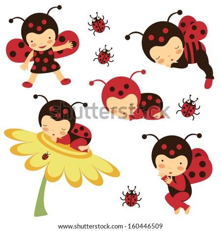 Beautiful Ladybug Babies Collection Stock Vector 160446509