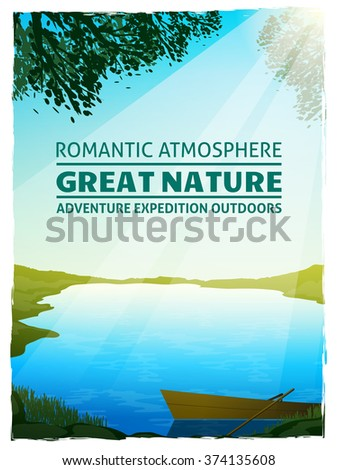 Beautiful lake in morning sunlight among green meadows great nature landscape background poster print vector illustration - stock vector