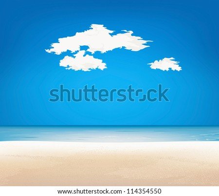 Beautiful landscape. Beach and tropical sea - stock vector