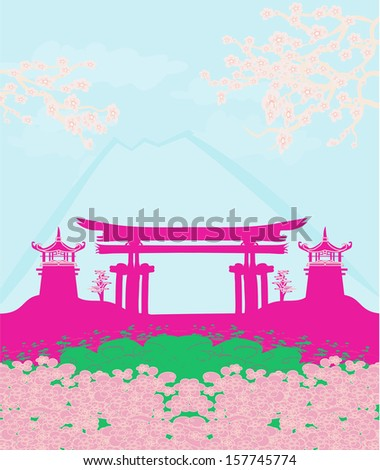 Beautiful landscape in Japan  - stock vector