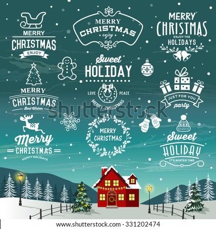 Beautiful landscape of Christmas. Christmas decoration collection of calligraphic and typograhic design with labels, logos, symbols and icons elements. - stock vector