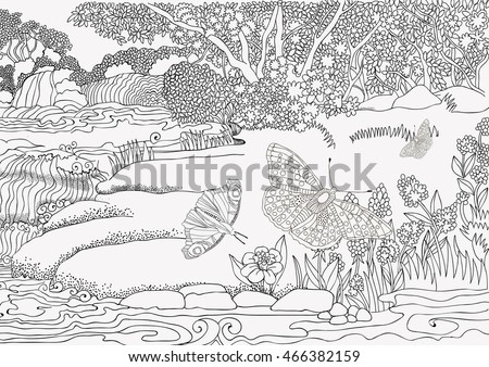Beautiful Landscape Waterfall Butterflies Coloring Pages