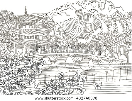 Beautiful landscape with mountains east .Coloring pages .Japan - stock vector