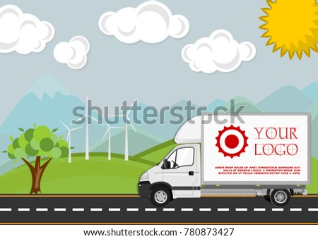 Beautiful landscape  with road and moving delivery truck. Flat style vector illustration.