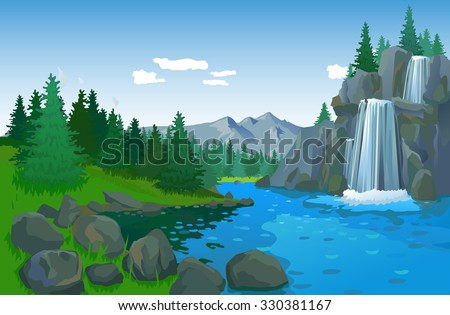Beautiful Landscape With Waterfall