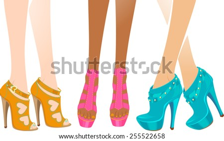 Beautiful legs in trendy shoes. Isolated vector illustration. - stock vector