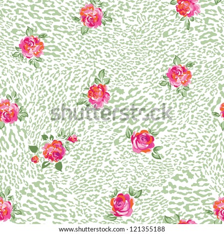 beautiful leo and roses seamless background - stock vector