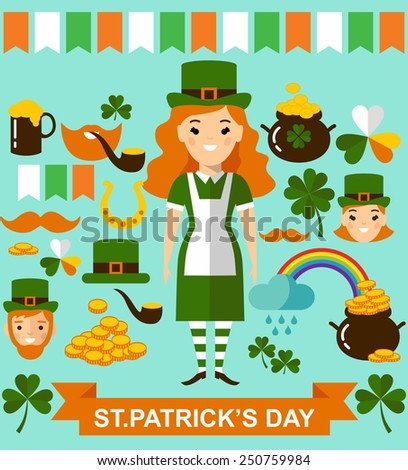 Beautiful leprechaun girl and man with beer, St. Patrick's Day design elements collection. Vector illustration of a St. Patrick's Day design elements collection. Set of leprechaun characters poses   - stock vector