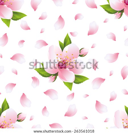 Beautiful light background seamless pattern with pink sakura blossom - japanese cherry tree and flying petals. Floral spring nature wallpaper. Vector illustration - stock vector