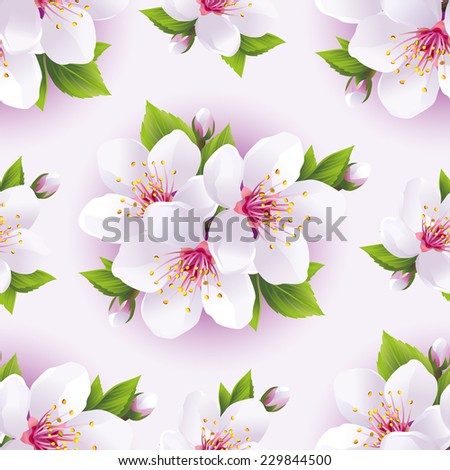 Beautiful light background seamless pattern with white sakura blossom - japanese cherry tree. Floral spring white - purple wallpaper. Vector illustration - stock vector
