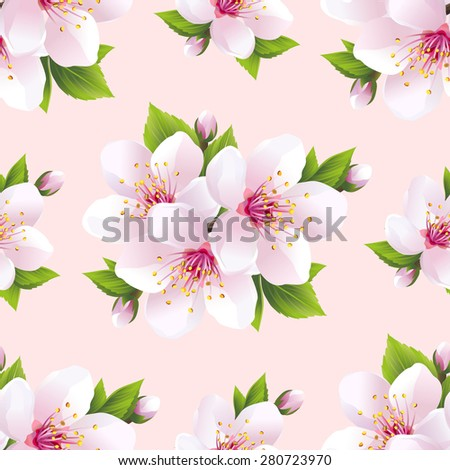 Beautiful light background seamless pattern with white sakura blossom - japanese cherry tree. Floral spring pink - purple wallpaper. Greeting or invitation card for life events. Vector illustration - stock vector