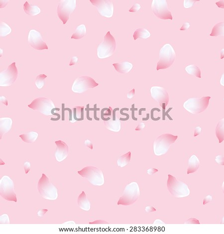 Beautiful light spring background seamless pattern with pink-white flying petals of sakura - japanese cherry tree. Floral romantic stylish wallpaper. Greeting or invitation card. Vector illustration - stock vector