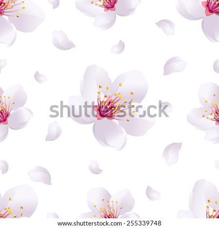 Beautiful light spring background seamless pattern with white sakura blossom - japanese cherry tree and flying petals. Floral romantic wallpaper. Vector illustration - stock vector