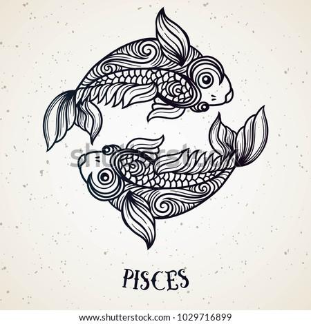 Beautiful Line Art Filigree Zodiac Symbol Black Sign On Vintage Background Elegant Jewelry Tattoo