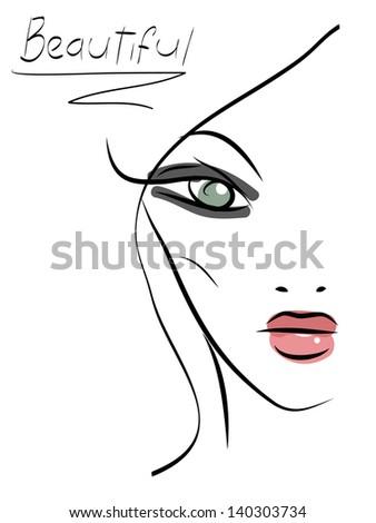 Beautiful line art girl - stock vector