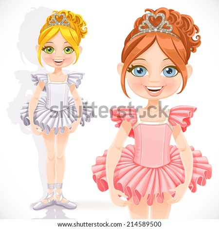 Beautiful little ballerina girl in tiara with hearts isolated on a white background - stock vector
