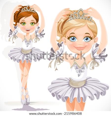 Row Of Three Cute Ballerinas Wearing Tutus To Color In ...   Ballerina Tiaras Cartoon
