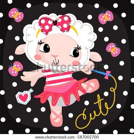 Stock Vector Beautiful Little Ballerina Sheep Girl Dancing With Ribbon Wand On Polka Dots Background on Foxtrot Dance Costumes