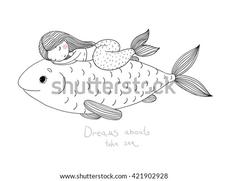 Beautiful little mermaid and big fish.Hand drawn vector illustration on a white background. Coloring book. - stock vector