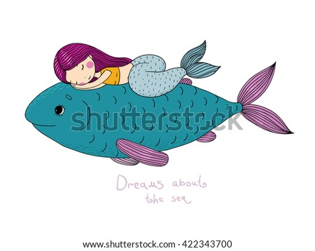 Beautiful little mermaid and big fish. Siren. Sea theme.Hand drawn vector illustration on a white background.  - stock vector