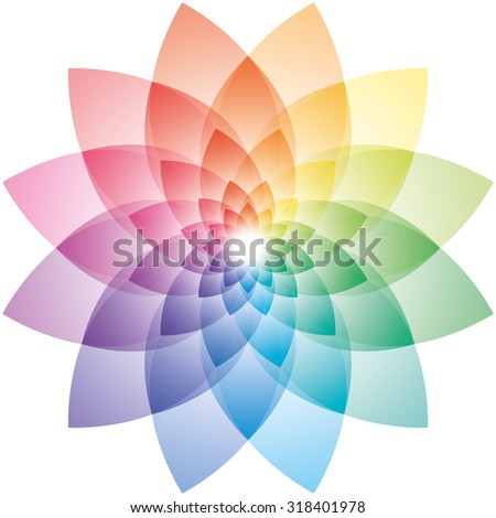 Beautiful Lotus Flower Color Wheel. Vector EPS10. - stock vector