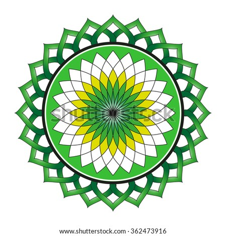 Beautiful Lotus Flower Color Wheel Vector EPS10 Mandala Oriental Indian Chinese Style