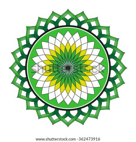 Beautiful Lotus Flower Color Wheel Vector EPS10 Mandala Oriental Indian Chinese Style