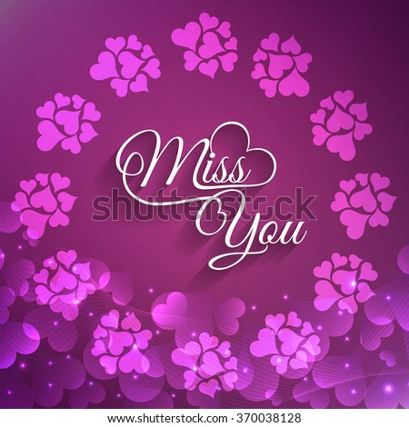 Beautiful love background with miss you text design - stock vector