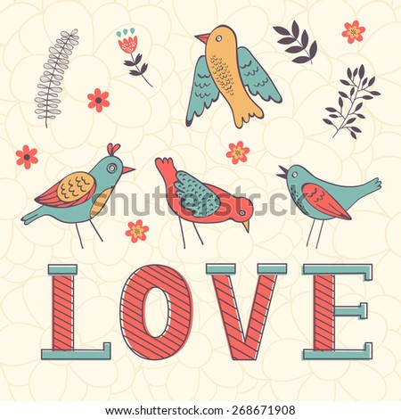 Beautiful love card with birds in vector format - stock vector