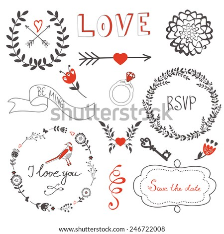 Beautiful love set with elegant frames, flowers and other graphic elements. Vector illustration - stock vector