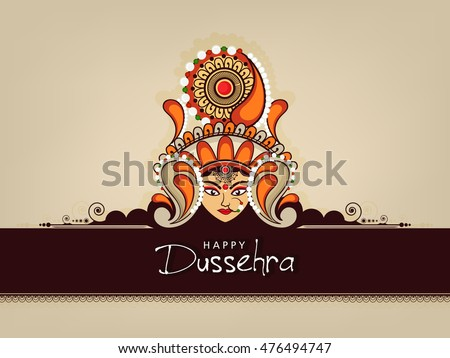 Beautiful Maa Durga Face with Floral Frame & Stylish text on Elegant background for Hindu Festival Happy Dussehra.