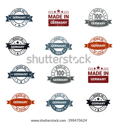 Beautiful 12 Made in Germany Rubber Grunge Stamp Isolated On White Background.