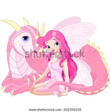 Beautiful Magic Dragon and Beautiful Fairy - stock vector