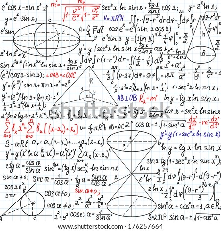 """Beautiful mathematical vector seamless pattern with formulas, figures and task solutions, """"handwritten on the copybook paper"""", different colors.  - stock vector"""