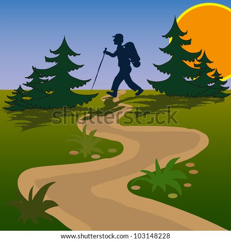 beautiful meadow sunrise and men going to hike between trees - stock vector