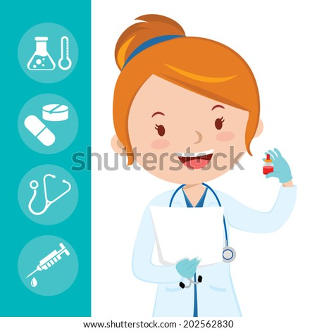 Beautiful medical doctor. A female medical doctor or general practitioner holding blood test tube with medical icons background. - stock vector