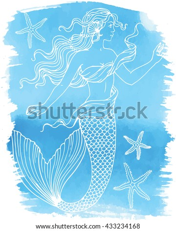 Beautiful mermaid outline vector hand drawn illustration on watercolor background.  - stock vector