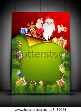 Beautiful Merry Christmas greeting card or gift card with Santa Clause and gift boxes. EPS 10. - stock vector