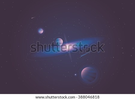 Beautiful minimal universe wallpaper vector illustration with planets, stars, milky way and asteroids. - stock vector