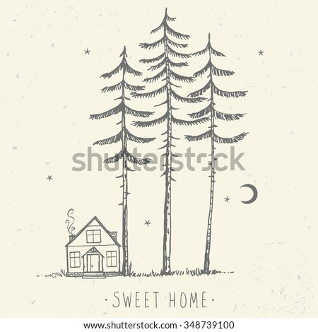 Beautiful minimalist background of amazing tall pines and house. Hand drawn sketch. Stylish vector illustration - stock vector