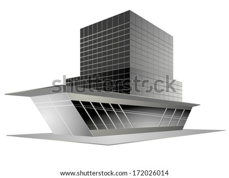 Beautiful modern design new building on a white background